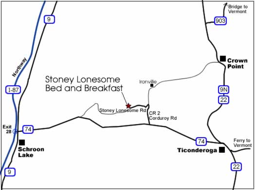 Map to Stoney Lonesome Bed and Breakfast